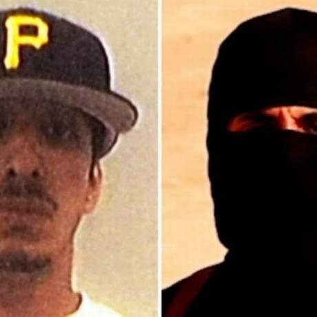 Mohammed Emwazi: à esquerda, em imagem da Universidade de Westminster. À direita, em um dos vídeos de decapitações do EI Foto: Reprodução / Universidade de Westminster/al-Furqan