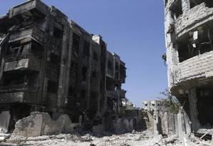 Jobar, na zona leste de Damasco, é um dos bairros controlados por rebeldes Foto: Reuters