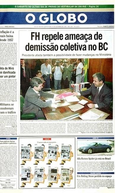 Cara nova. Projeto gráfico muda em 1995 Agência O Globo / Agência O Globo