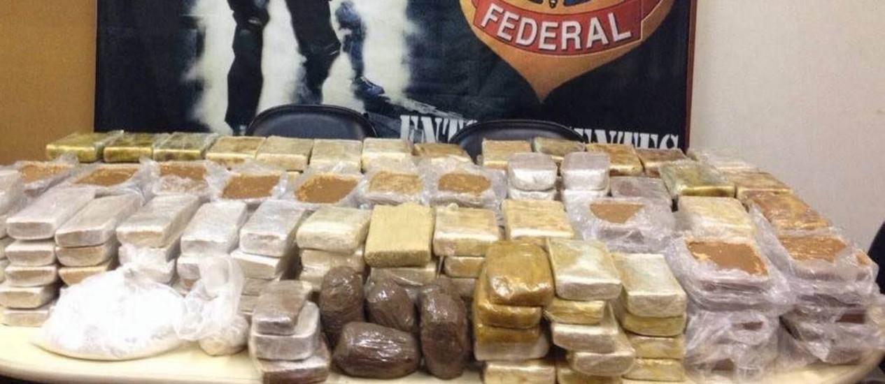 Carregamento de 229 quilos de pasta base de cocaína foi apreendido em ação conjunta da PF e da Polícia Civil Foto: Divulgação/PF