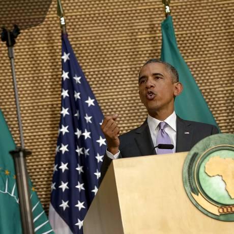 Barack Obama discursa diante da União Africana em Adis Abeba, na Etiópia Foto: JONATHAN ERNST / REUTERS