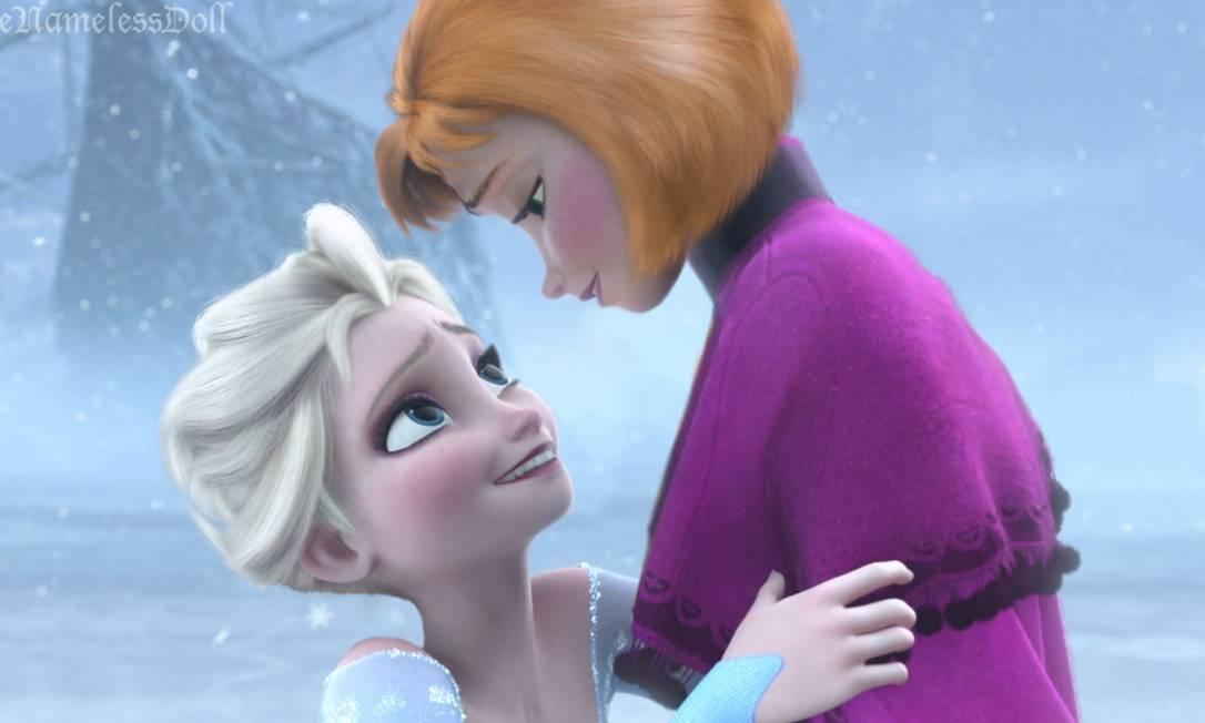 """Anna & Elsa, de """"Frozen"""", cabelos mais modernos Reprodução/ Tumblr"""