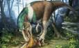 O terópode Gorgossauro devora uma presa: dentes eficientes para triturar ossos e rasgar a carne