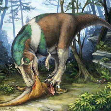 O terópode Gorgossauro devora uma presa: dentes eficientes para triturar ossos e rasgar a carne Foto: Ilustração/Danielle Dufault