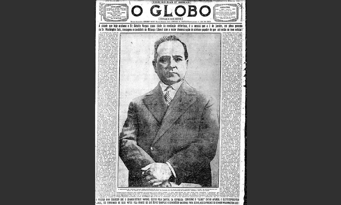 De corpo inteiro. A foto de Getúlio Vargas, o líder da Revolução de 30, ocupa a capa de alto a baixo: a dimensão de um fato histórico