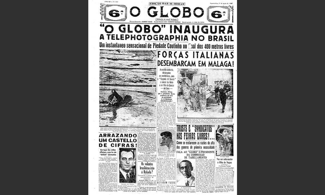 Revolução. A nadadora Piedade Coutinho na final dos 400m dos Jogos de 1936: a primeira telefoto recebida numa redação do país