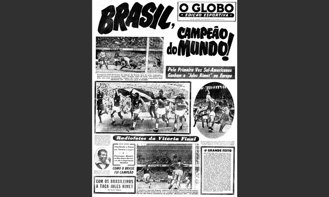 Festa histórica. A Copa de 1958, a primeira vencida pelo Brasil, mereceu tratamento editorial e gráfico especial