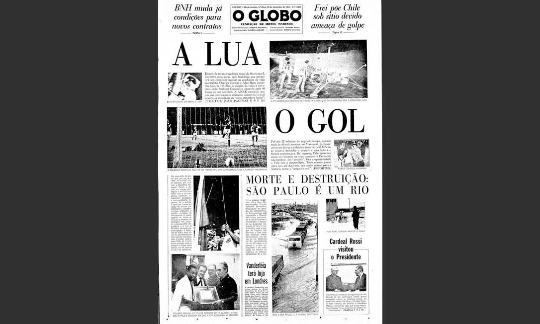 Para a História. Solução gráfica perfeita para destacar na capa dois feitos históricos: o homem na Lua e o milésimo gol de Pelé