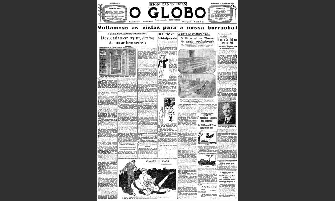 Primeira edição. Já no lançamento, O GLOBO mostrava elementos do seu DNA: charge na capa, foco na cidade e novas formas gráficas