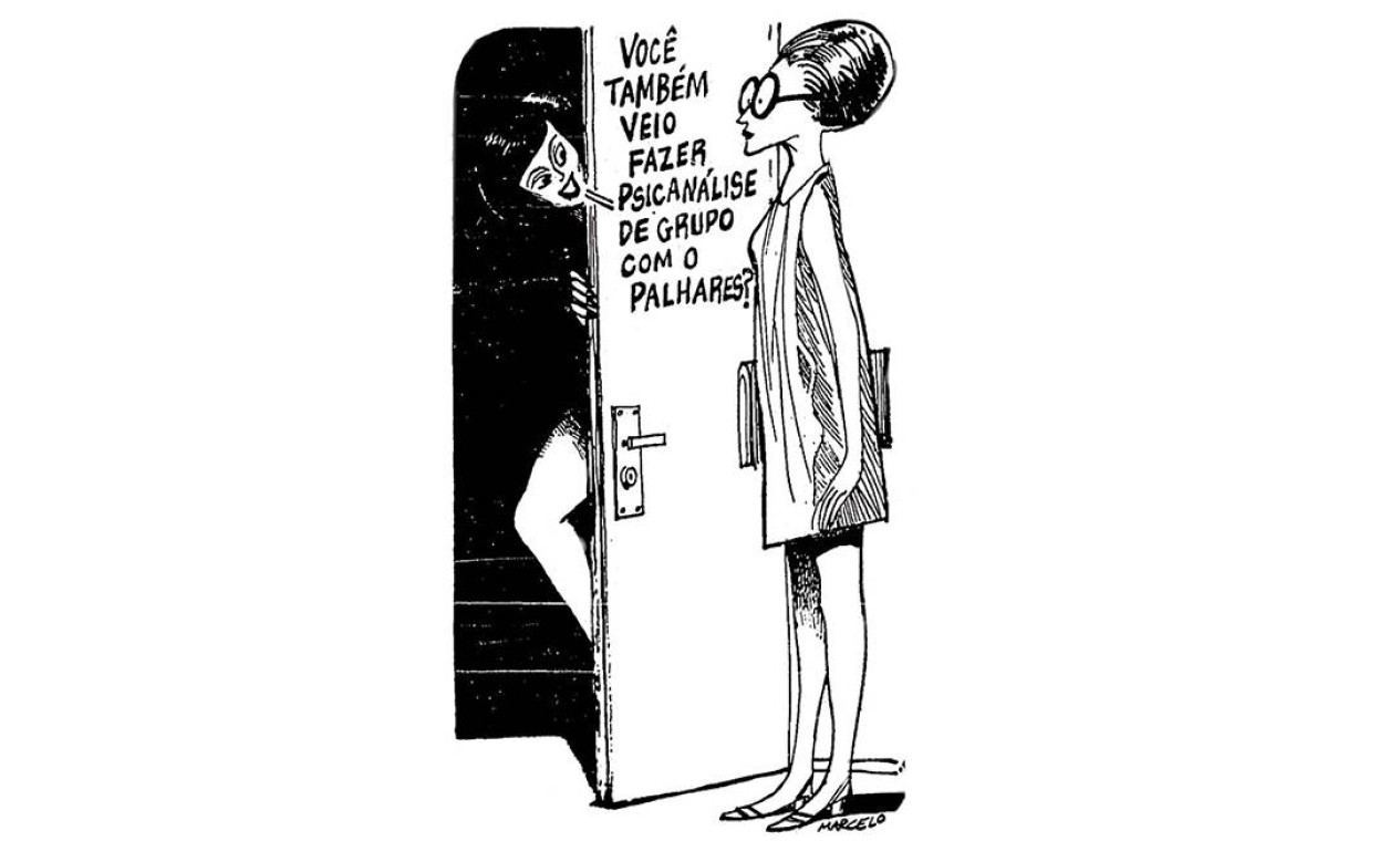 """Terceiro. Desenho de Marcelo ilustra """"As confissões de Nelson Rodrigues"""", nas páginas do GLOBO, em 1969 Foto: Terceiro. Desenho de Marcelo ilustra """"As confissões de Nelson Rodrigues"""", nas páginas do GLOBO, em 1969 /"""
