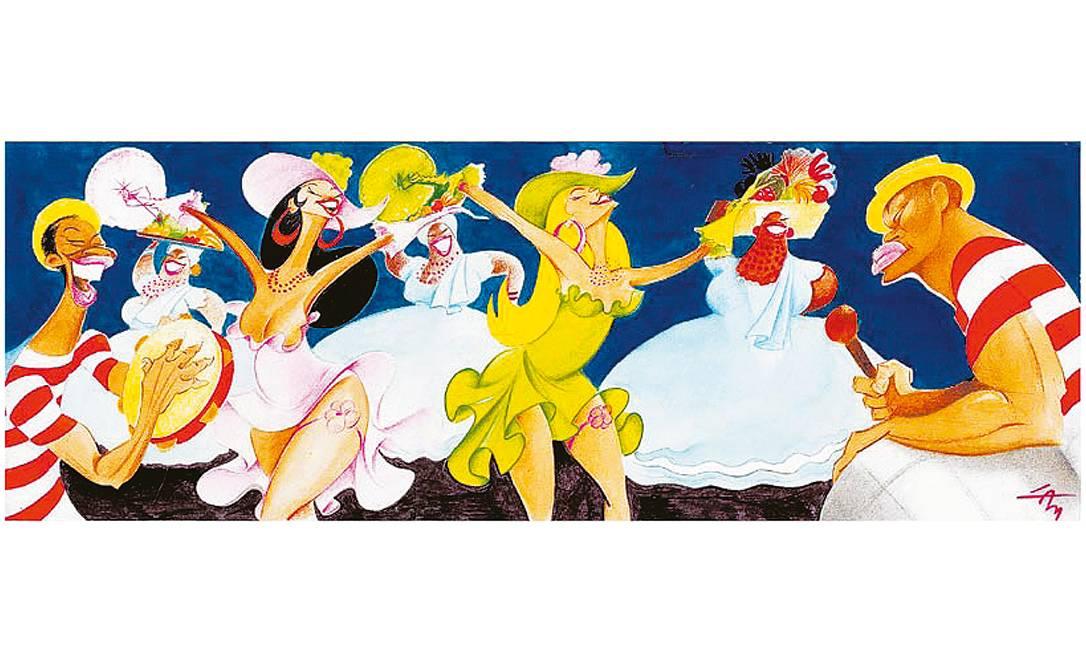 Traço que dá samba. Mulatas, baianas e ritmistas colorem o carnaval de 2002: personagens tipicamente cariocas frequentam o universo de Lan, italiano que nasceu na Toscana, em 1925 (ano em que O GLOBO foi fundado), e adotou o Rio para viver Foto: