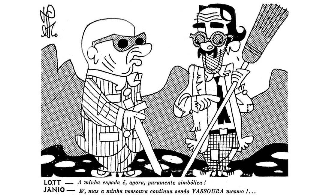 Vassourinha. O marechal Henrique Teixeira Lott e Jânio Quadros em charge de Théo publicada no alto da primeira página do GLOBO em 18 de fevereiro de 1960: apuro técnico Foto:
