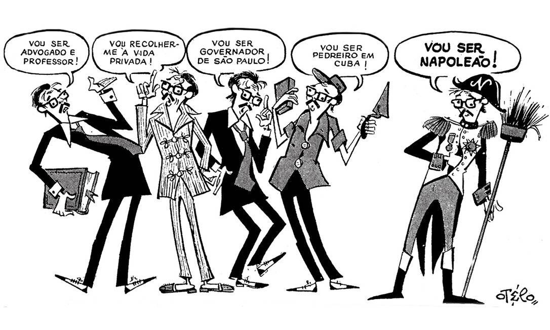 """Crise de identidade. Em charge publicada na primeira página do GLOBO em 6 de abril de 1962, Otelo brinca com as muitas personalidades do ex-presidente Jânio Quadros, que renunciara em agosto de 1961. Mestre do humor, o chargista é lembrado também pelo """"Penalty do Otelo"""