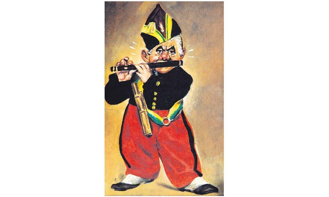 """Bigode musical. Sarney em charge de Chico, de maio de 1985, inspirada em """"O tocador de pífaro"""", de Manet"""