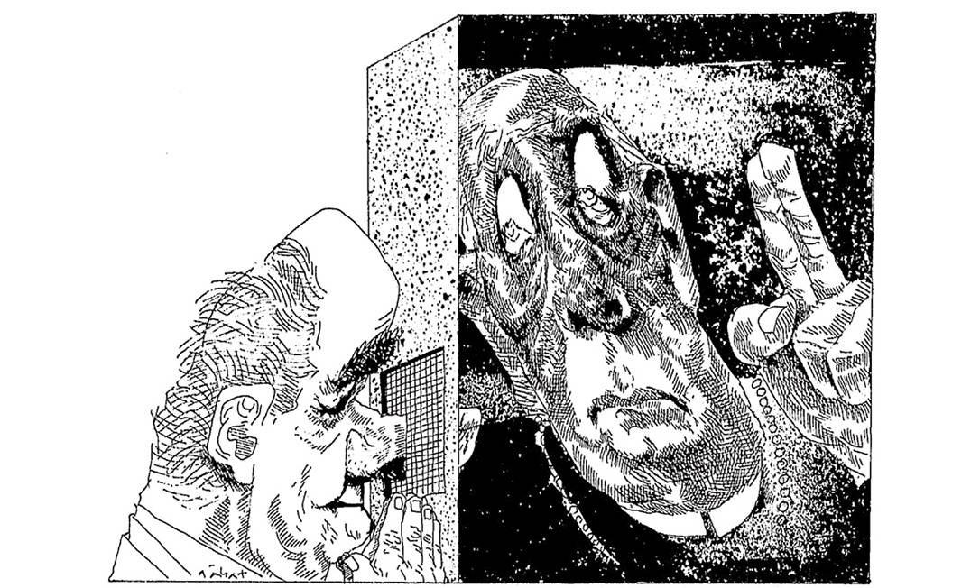 Confessionário político. Tancredo Neves e Ulysses Guimarães em charge de Hermenegildo Sábat publicada na edição de 13 de fevereiro de 1985