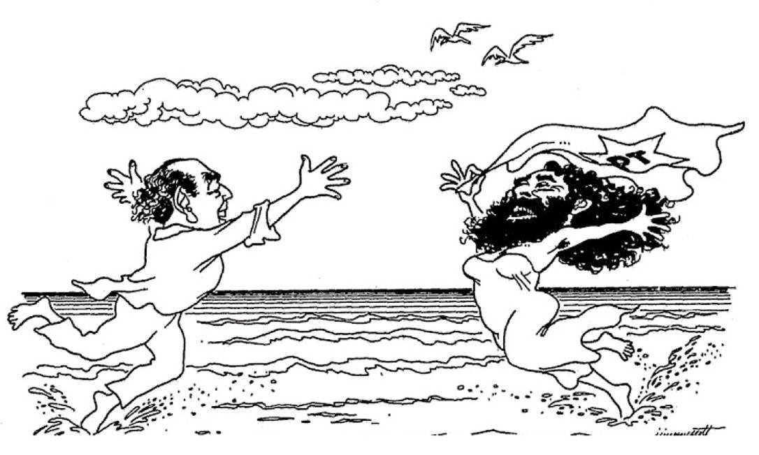 Encontro. Leonel Brizola e Luiz Inácio Lula da Silva em charge de Jimmy Scott publicada em 25 de novembro de 1985