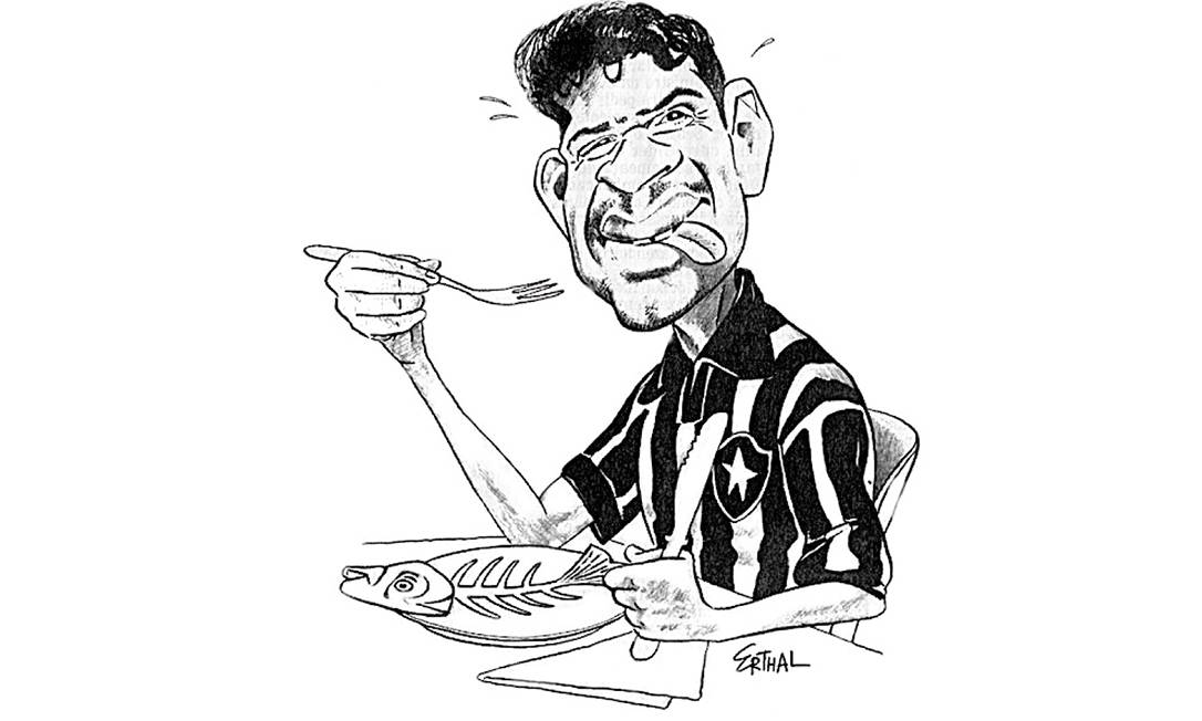 Peixe frito. Túlio Maravilha em charge de Erthal, publicada em 18 de dezembro de 1995, após o Botafogo se sagrar campeão em cima do Santos