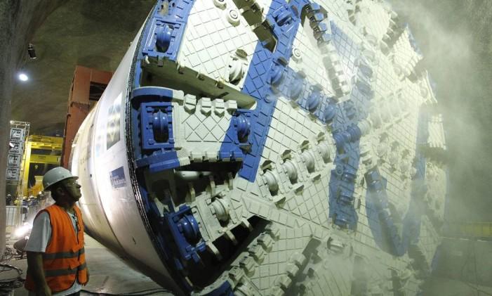 Equipamento utilizado nas perfurações da Linha 4 Foto: Pablo Jacob / Agência O Globo
