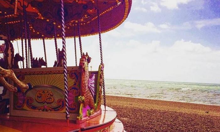 O carrossel do píer de Brighton, no Reino Unido Foto: @laribittencourt / Instagram