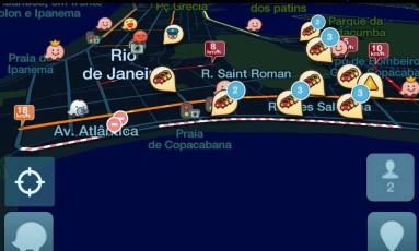 Waze vai informar em tempo real as alterações de trânsito em Copacabana Foto: Reprodução aplicativo