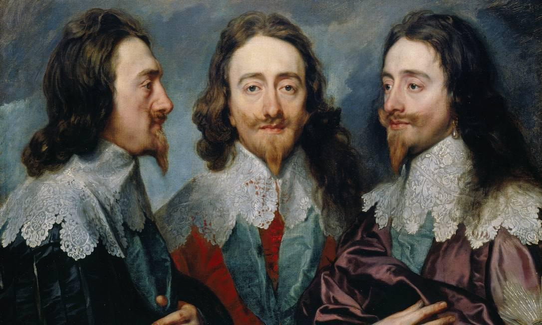 O quadro tripo de Charles I, pintado por Anthony van Dyck no século XVII, serviu de inspiração para a série Reprodução