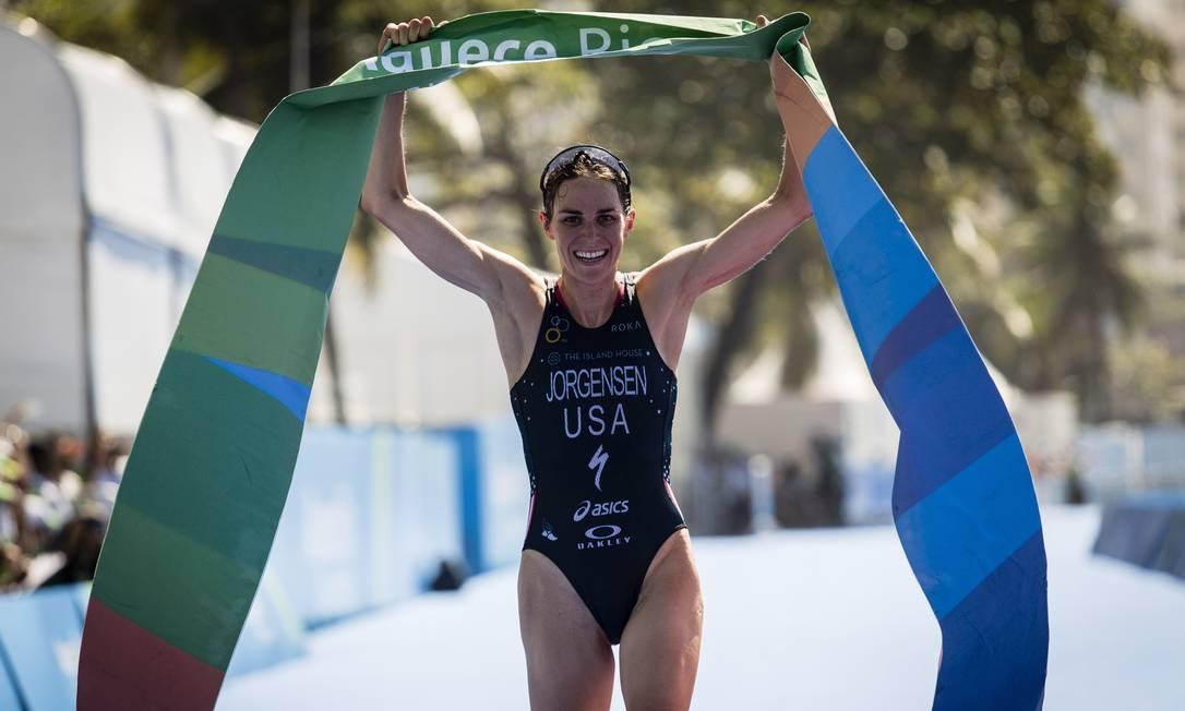 A americana Gwen Jorgensen ficou com o ouro neste domingo Fernando Lemos / Agência O Globo