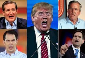 Apenas entre os nomes mais conhecidos dos 16 candidatos, estão Ted Cruz, Donald Trump, Jeb Bush, Marco Rubio e Scott Walker Foto: AP