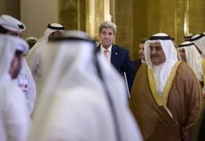 Kerry e os aliados se mostraram em sintonia após defesa de acordo e cooperação na região Foto: Brendan Smialowski / AP