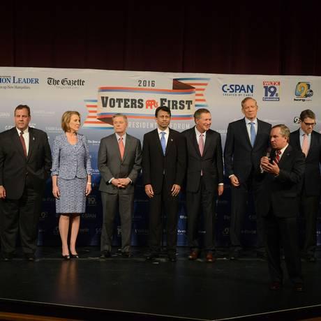 Encontro entre pré-candidatos republicanos ocorreu em New Hampshire Foto: DARREN MCCOLLESTER / AFP
