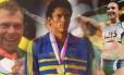 Robert Scheidt, da vela; Joaquim Cruz, do Atletismo; e Maurren Maggi, do salto em distância: exemplos do Brasil vencedor em Olimpíadas