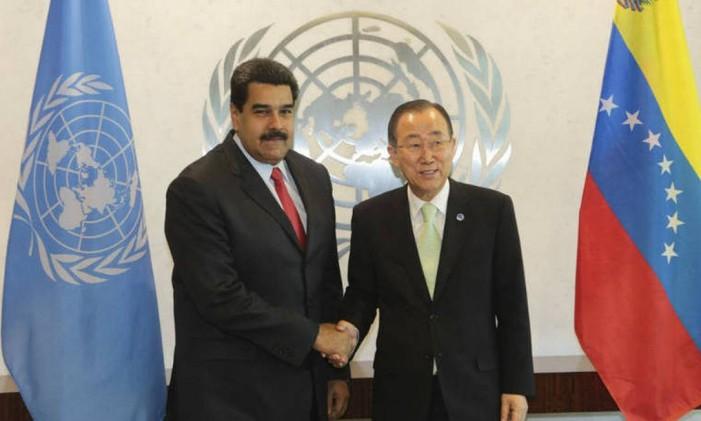 Maduro conta com o secretário geral da ONU, Ban Ki-moon para mediar seu conflito com a Guiana Foto: Reuters