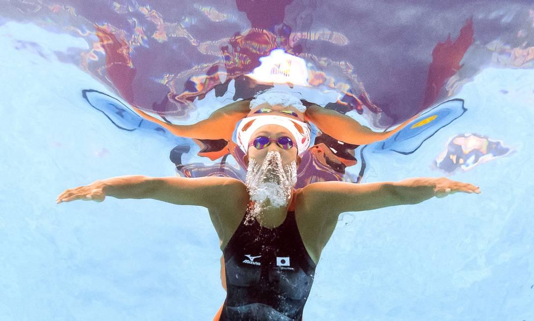 A japonesa Kanako Watanabe durante as eliminatórias dos 200m peito FRANCOIS XAVIER MARIT / AFP