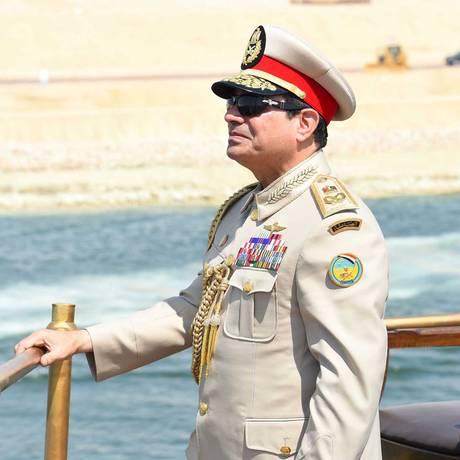 O presidente egípcio, Abdel Fattah al-Sisi, participa de inauguração do novo Canal de Suez Foto: HANDOUT / REUTERS