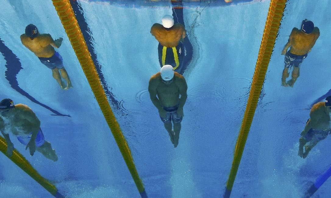 Atletas disputam a final dos 200 metros peito MICHAEL DALDER / REUTERS