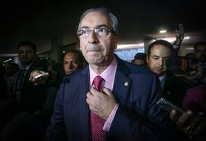 O presidente da Câmara, Eduardo Cunha, em entrevista coletiva na semana passada Foto: ANDRE COELHO / O Globo