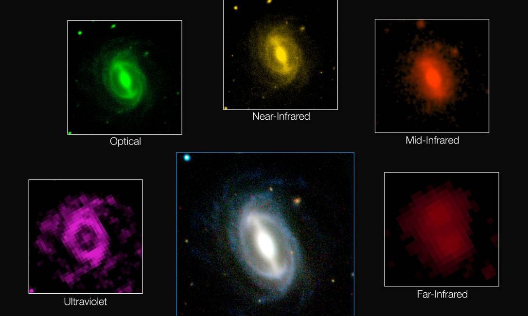 Uma das mais de 200 mil galáxias integrantes do levatamento vista em diversos comprimentos de onda, do ultravioleta ao infravermelho distante: Universo está se 'apagando' lentamente Foto: ICRAR/Gama/ESO