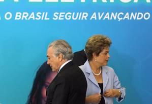 A presidente Dilma Rousseff, ao lado do vice Michel Temer, durante Cerimônia de anúncio do Programa de Investimento em Energia Elétrica Foto: Givaldo Barbosa / Agência O Globo
