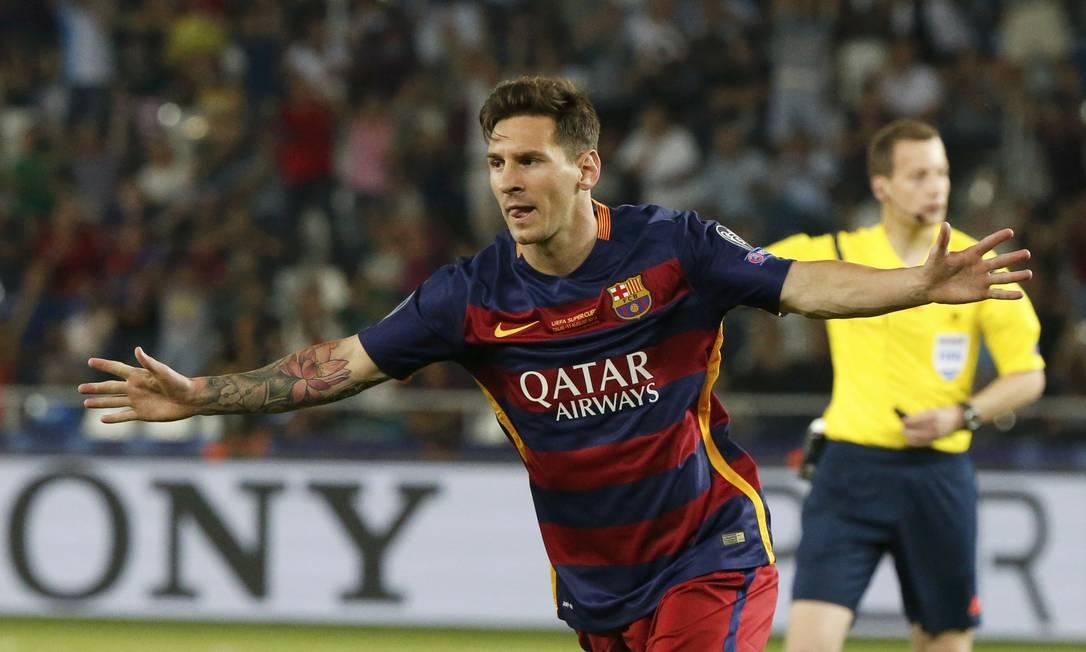 Messi comemora o gol de empate GRIGORY DUKOR / REUTERS