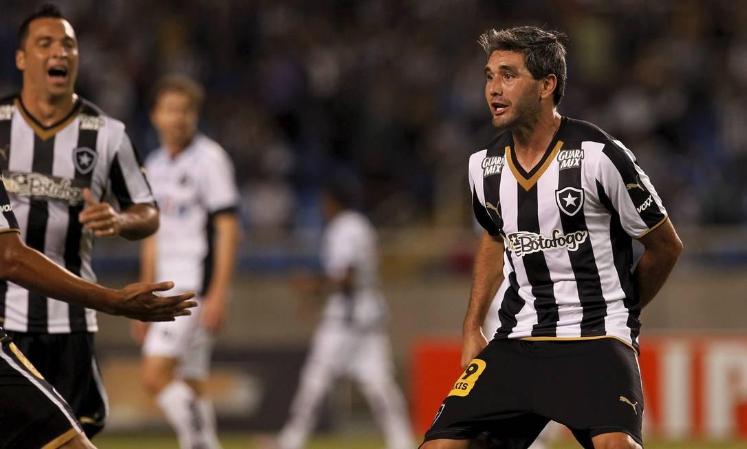 O uruguaio Navarro comemora o gol de empate do Botafogo Cezar Loureiro / Agência O Globo