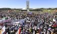 A 5ª Marcha das Margaridas ocupou a frente do Congresso Nacional, em Brasília, na manhã desta quarta-feira.