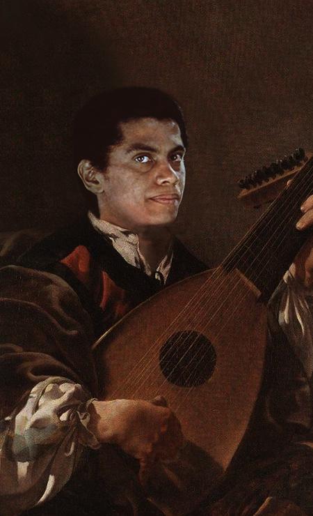O designer Alberto Pereira faz sucesso na internet com montagens que inserem artistas negros do Brasil em pinturas europeias clássicas, que vão do século XV ao XIX. Na imagem, o músico Paulinho da Viola, ou melhor, do alaúde Foto: Alberto Pereira