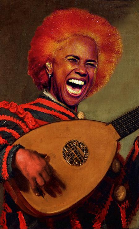 """A cantora Sandra de Sá aprovou o projeto, e recebeu o seu quadro pessoalmente. Na imagem, ela aparece em """"Bufão tocando alaúde"""", do belga Frans Hals. Ivo Meireles e Gaby Amarantos foram outros que curtiram suas representações Foto: Alberto Pereira"""