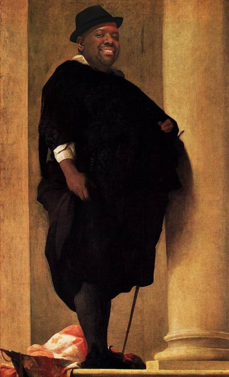 O sambista Péricles em quadro do pintor barroco Charles Mellin Foto: Alberto Pereira