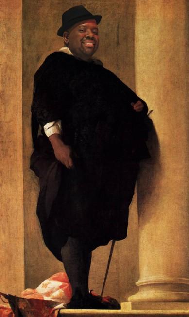 O sambista Péricles em quadro do pintor barroco Charles Mellin Alberto Pereira