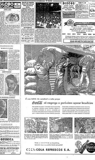 O açúcar é nosso. Nos anos 50, auge do nacionalismo, a Coca-Cola demonstrava que era uma indústria que - literalmente - usava recursos e mão-de obra brasileiros. Esta peça de 1950 foi parte de uma campanha de 6 anúncios belamente ilustrados, que harmonizavam layouts bem equilibrados e textos didáticos, dirigidos aos formadores de opinião Reprodução
