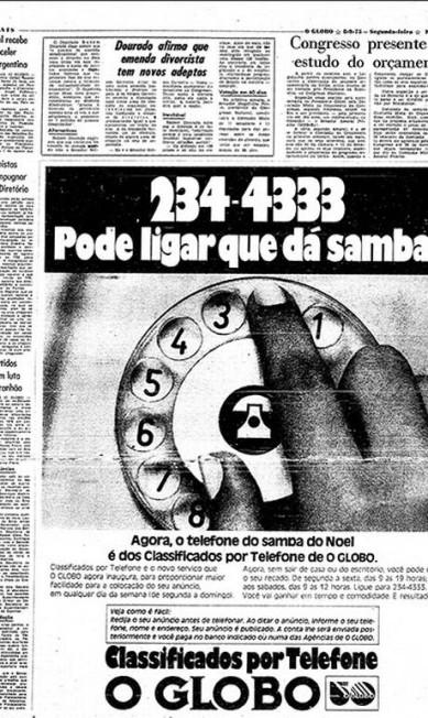 """Pode ligar que dá samba . Telefone ao menos uma vez pra 234-4333. Uma memorável campanha foi criada em 1975 usando-se o samba de Noel Rosa, """"Conversa de Botequim"""". Pronto, estava lançado o número do Classifone, o serviço de anúncios classificados feitos por telefone Reprodução"""