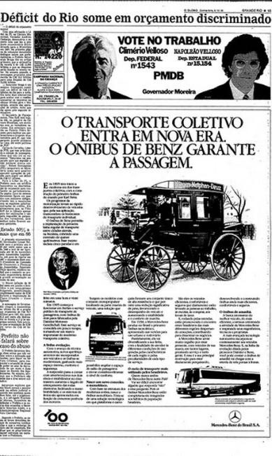 Ônibus da Mercedes Benz. A Mercedes comemorou o centenário de seus ônibus contando, em 1986, a saga da fabricação desses veículos e como eles alteraram a configuração urbana - na Europa e também no Brasil. Um documento histórico que carrega a longeva elegância característica da comunicação da marca que o assina Reprodução