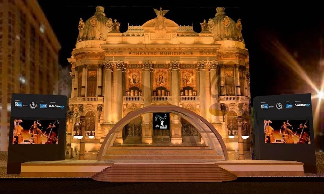 Simulação de como ficará o palco do Aquarius 2015, na Cinelândia Foto: Divulgação / Simulação