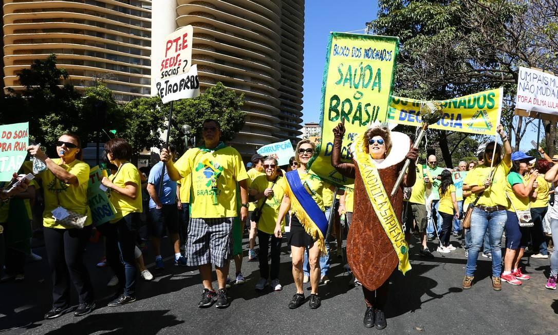 Em Belo Horizonte, a Praça da Liberdade, tradicional palco de protestos, reuniu os manifestantes Foto: HUCO CORDEIRO / Hugo Cordeiro