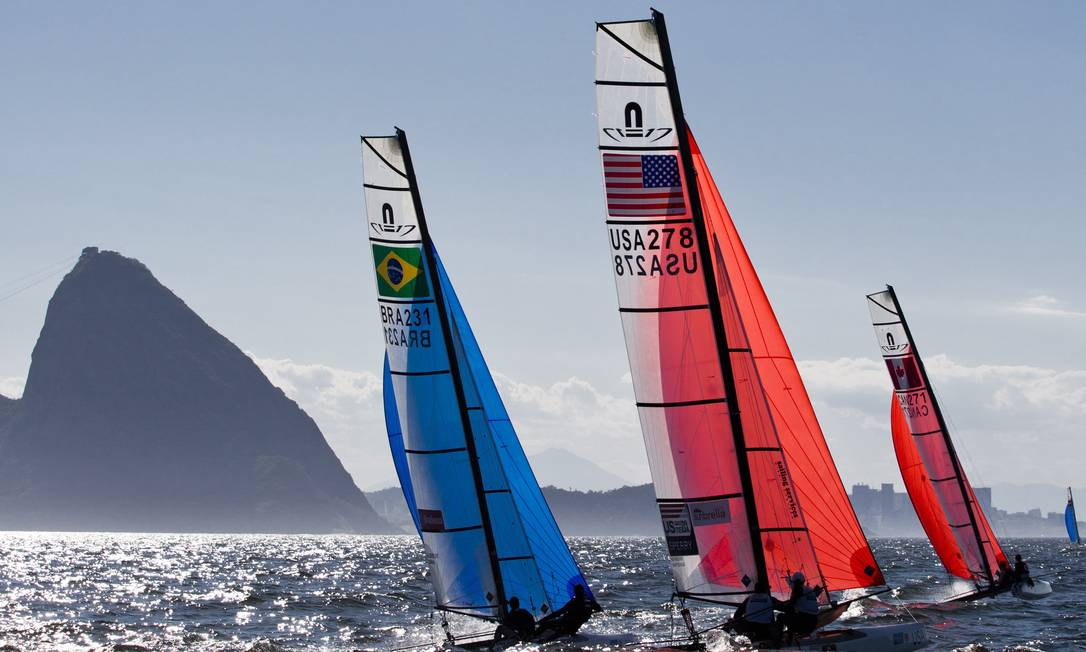 O evento-teste na Baía de Guanabara serve para o Rio testar sua preparação para o torneio olímpico de vela, em 2016 Guito Moreto / Agência O Globo